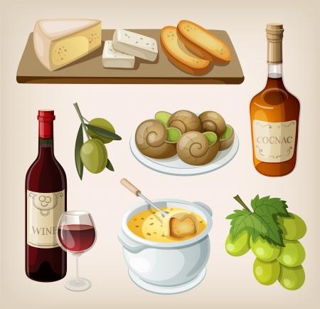フランスの伝統的なドリンク、前菜のセット  イラスト・ベクター素材