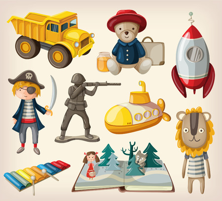 cartoon submarine: Set of old-fashioned toys Illustration