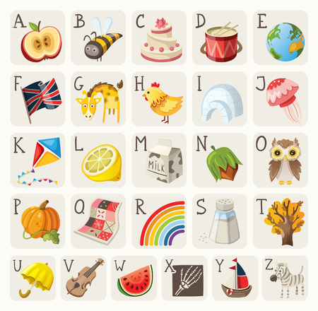 english food: Alphabet for children Illustration