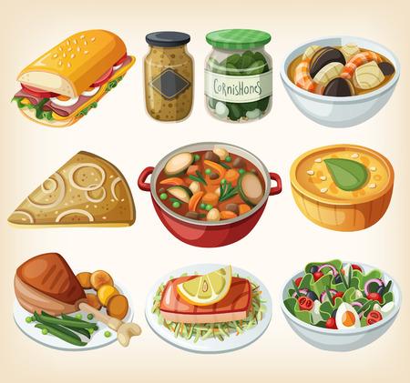 伝統的なフレンチ ディナー食事のコレクション  イラスト・ベクター素材
