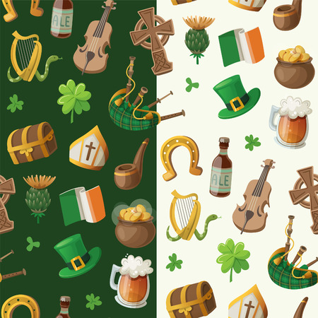 Pattern for saint patrick day with traditional irish items Vector