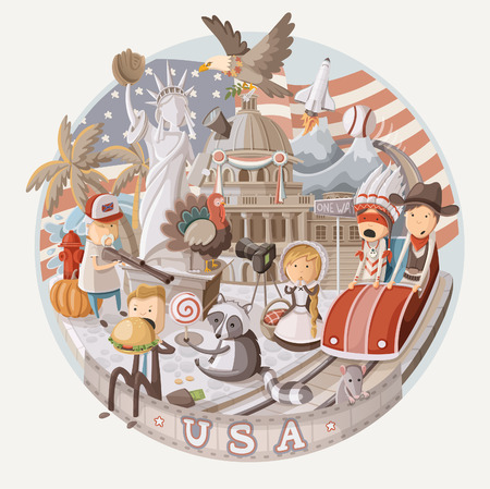 racoon: Plate design with items from USA Illustration