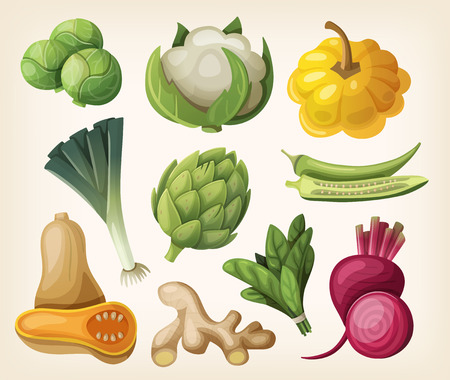Set of exotic vegetables. Vectores