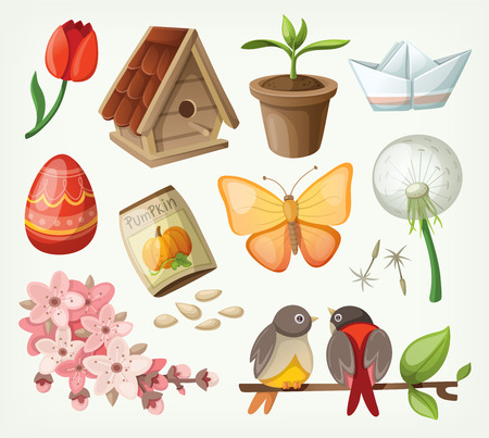 birdhouse: Set of spring items.