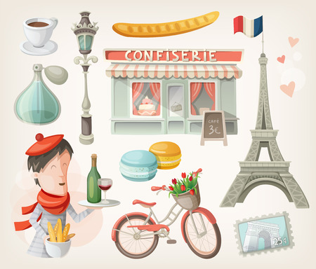 Set of elements, famous buildings and decorations from Paris, France Çizim