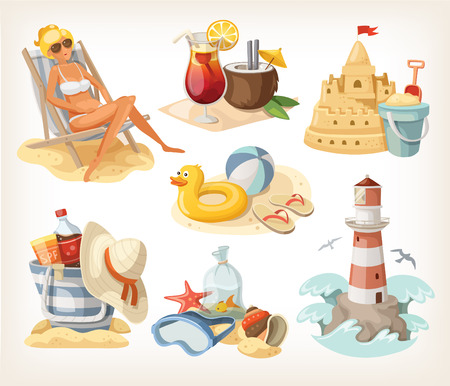 Set of summer beach elements and situations