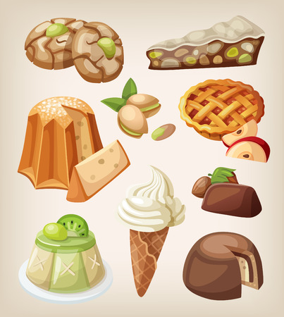 ice cream cartoon: Set of traditional italian desserts, sweets and cookies