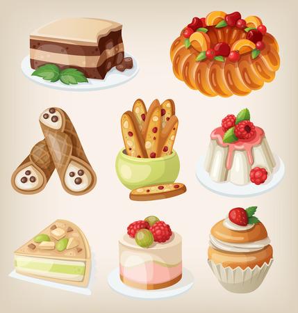 伝統的なイタリアのデザート、お菓子とクッキーのセット  イラスト・ベクター素材