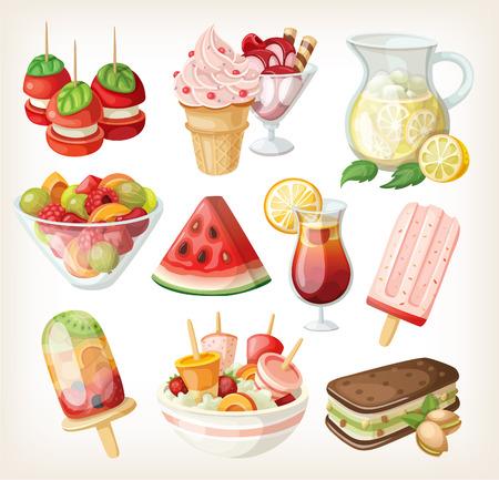 차가운 달콤한 여름 음식과 간식 세트