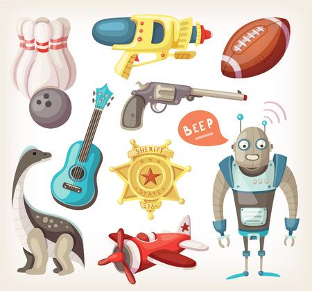 juguetes antiguos: Conjunto de juguetes para los niños y algunos inventarios para los deportes