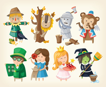 cartoon witch: Set of cartoon toy personages from fairy tales