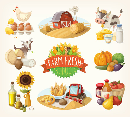 Set of illustrations with farm fresh products and animals