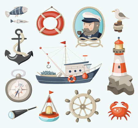Set of fishing and sea items Vectores