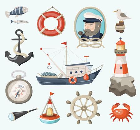 barca da pesca: Set di articoli da pesca e del mare Vettoriali