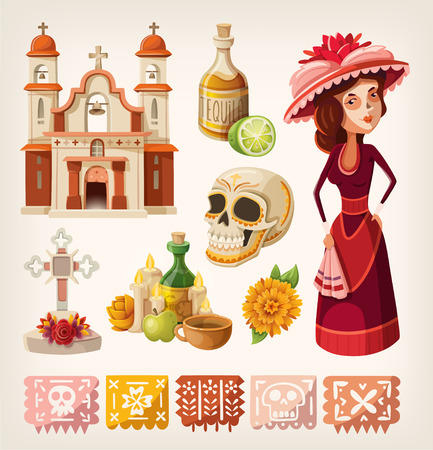 Set of items for day of the dead and calavera de la Catrina Vettoriali