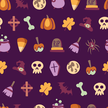 Seamless halloween pattern with all traditional october holiday elements
