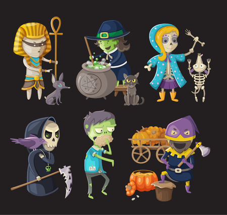Costumes and traditional haloween characters