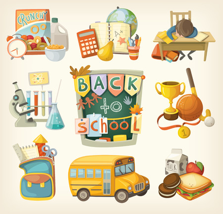 Back to school set. Elements of every day of study.