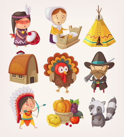 Set of decorative thanksgiving items and characters. EPS10