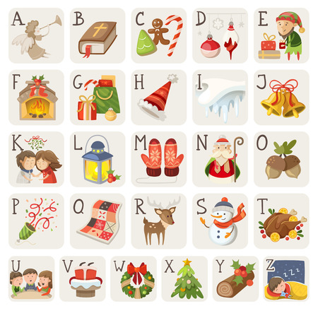 Set of christmas items, characters and situations in alphabet. Vektoros illusztráció