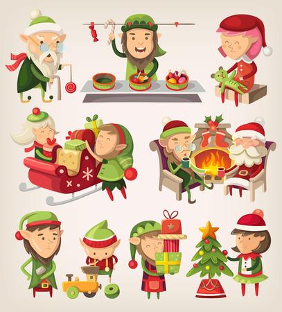 adornos navide�os: Conjunto de los duendes de Santa preparando para la Navidad.