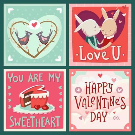 animalitos tiernos: Tarjetas día de San Valentín del vector con saludos y amor enviar.