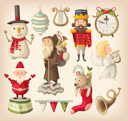 Set of retro christmas toys for children that can be found in grandma closet Vector