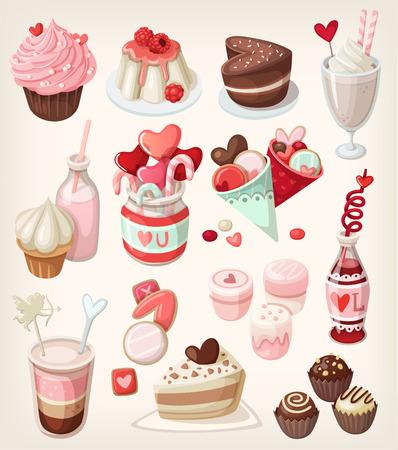 Colorful food for love gerelateerde gelegenheden: Valentijnsdag, romantische datum, huwelijk Stock Illustratie