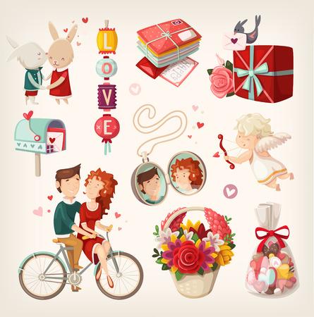 ロマンチックなバレンタイン商品および人々 のセット。  イラスト・ベクター素材