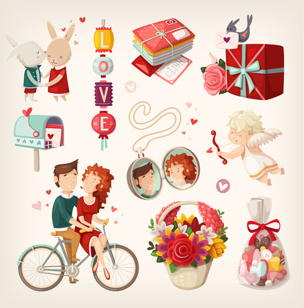 Set of romantic valentine items and people.