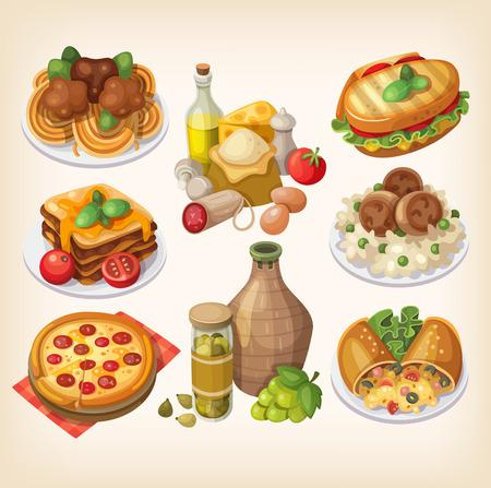 이탈리아 음식, 제품 및 이탈리아 요리의 다른 요소의 집합입니다. 일러스트