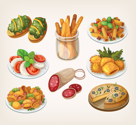 pasta salad: Set of traditional italian food products and elements of italian cuisine. Illustration