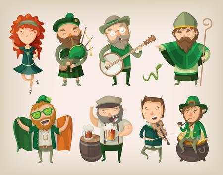 人と聖 Patrick のアイルランドのパブで見つけることができます文字のセット  イラスト・ベクター素材
