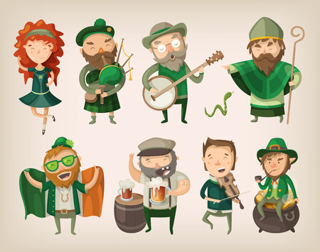 Set of people and characters you can find in an irish pub at saint Patrick Stock Illustratie