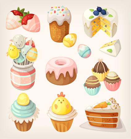 Colorful food for Easter party. Vector