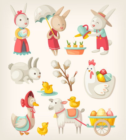 sunday: Colorful images of Easter characters and animals for spring holiday Illustration