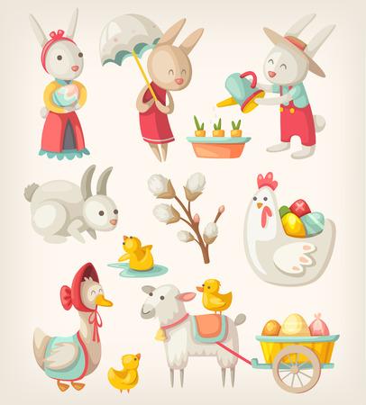 juguetes: Coloridas im�genes de personajes y animales de Pascua para vacaciones de primavera