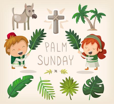 Elementos decorativos para el Domingo de Ramos y hojas de palma. Vectores