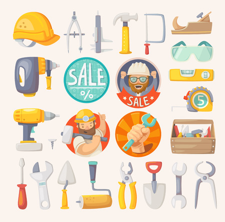 Tools for building, construction and house remodeling. Labels for hardware store.