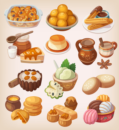 meal: Colorful illustrations of traditional mexican desserts and other sweet meals
