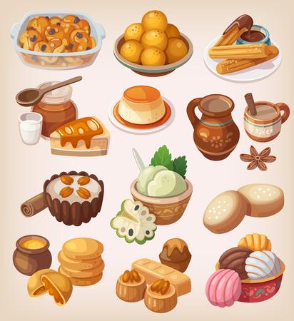 comidas: Ilustraciones coloridas de postres mexicanos tradicionales y otras comidas dulces
