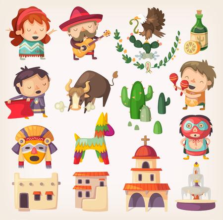 tanzen cartoon: Menschen, Touristen und Nationalhelden von Mexiko. Design-Elemente und Symbole mit lokalen Architektur und Traditionen. Illustration
