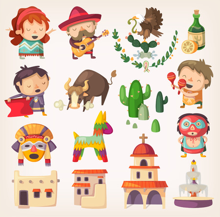 People, tourists and national heroes of Mexico. Design elements and icons with local architecture and traditions. Stock Illustratie