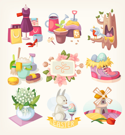 spring cleaning: Spring is here. Set of colorful decorative situations, places, flowers and animals you see in spring. Illustration