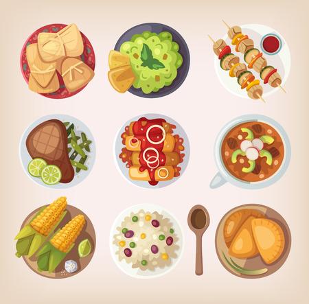 elote caricatura: Restaurante calle mexicana o iconos de comida casera para el men� �tnico