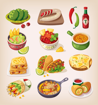 Mexican street, restaraunt and homemade food and product icons for ethnic menu Çizim