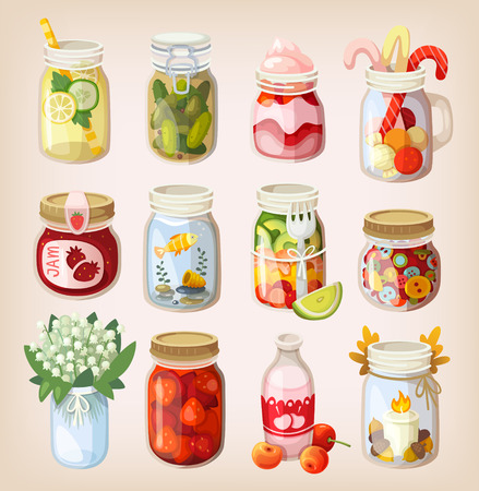 Variety of mason jars with different items in them showing how to use it Stock Vector - 40873094