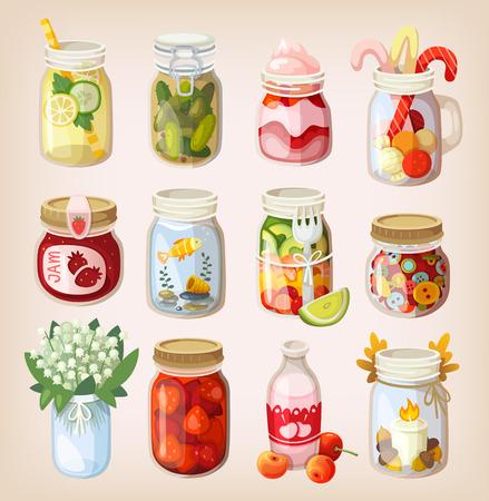 Verscheidenheid van mason potten met verschillende items in hen te laten zien hoe het te gebruiken