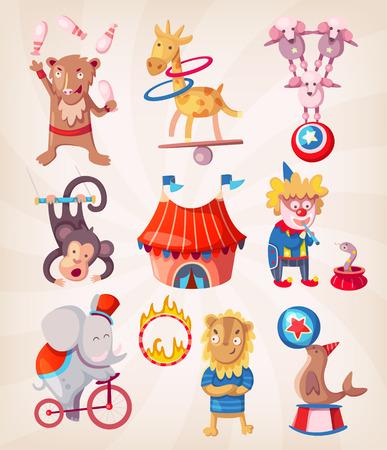 Colorful circus animals present at arena doing acrobatic tricks.
