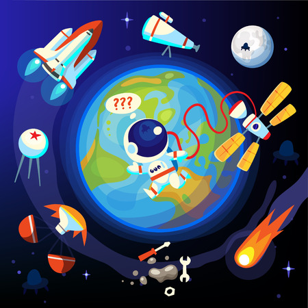 space station: Colorful episodes of space life. Past and future scientific space discoveries and achievements.